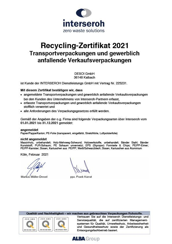 Recycling Zertfikat
